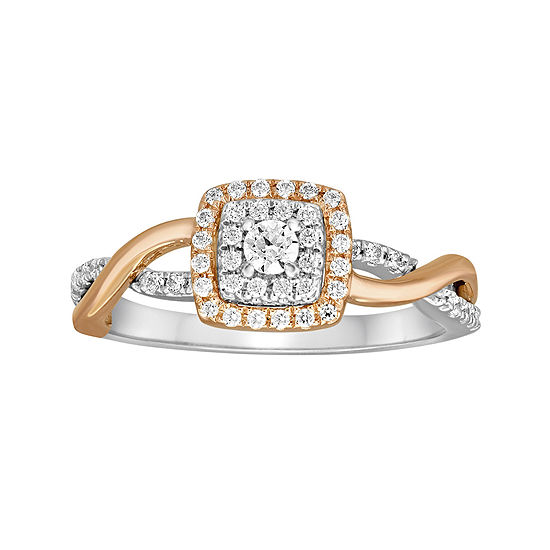 I Said Yes 3 8 Ct Tw Diamond 10k Rose Gold Twist Engagement Ring