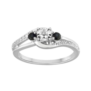 Promise My Love 1/8 CT. T.W. Diamond and Genuine Blue Sapphire Bypass Promise Ring