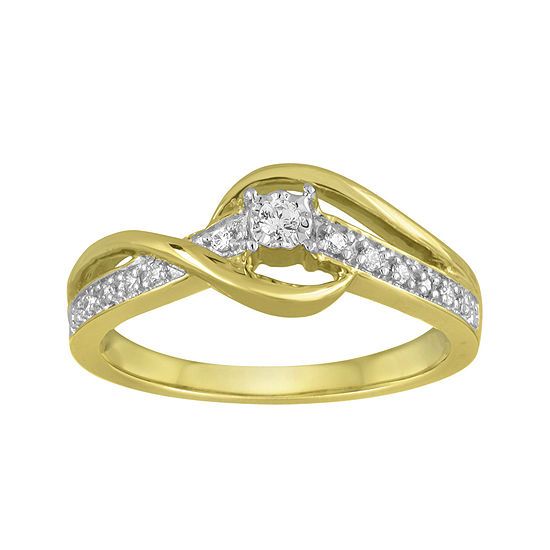 1/10 CT. T.W. Diamond 10K Yellow Gold Wave Promise Ring