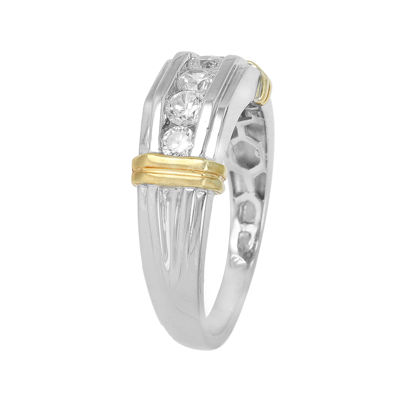 Mens 1/2 CT. T.W. Diamond 10K Two-Tone Gold Band Ring