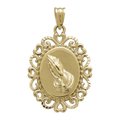 "Tesoro™ 14K Yellow Gold Praying Hands with ""Gloria A Dios"" Pendant"