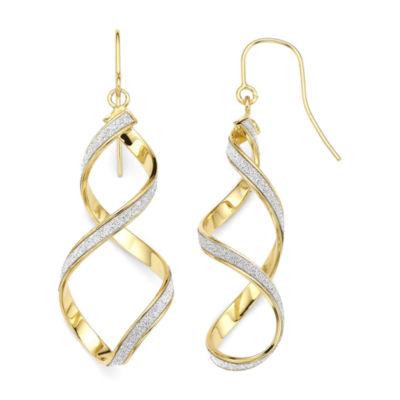 14K Yellow Gold Twisted Glitter Drop Earrings