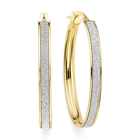 Made in Italy 14K Yellow Gold Oval Glitter 36mm Hoop Earrings