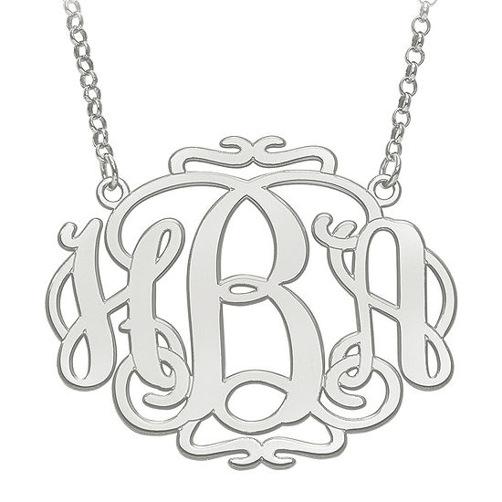 Personalized 31x39mm Scroll Monogram Necklace