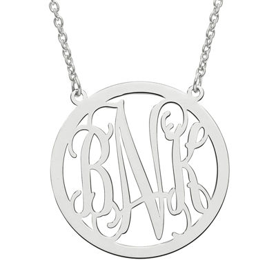 Personalized 26mm Circle Monogram Pendant Necklace