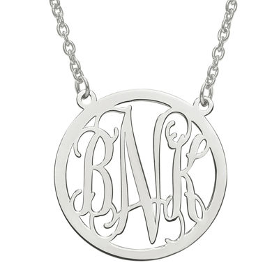 Personalized  32mm Circle Monogram Pendant Necklace