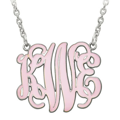 Personalized 25mm Sterling Silver Enamel Monogram Necklace