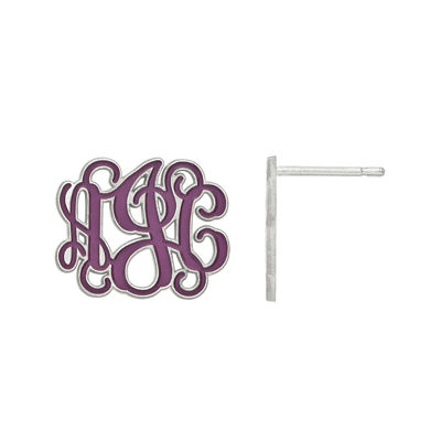 Personalized 16mm Sterling Silver Enamel Monogram Stud Earrings