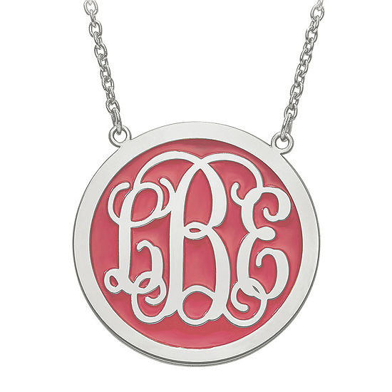 Personalized Sterling Silver Round 32mm Enamel Monogram Necklace