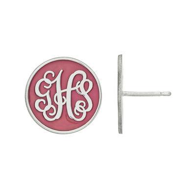 Personalized Sterling Silver Round Enamel Monogram Stud Earrings