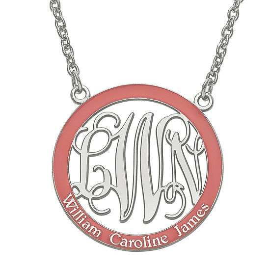 Personalized Sterling Silver Open Enamel Monogram and Name Pendant Necklace