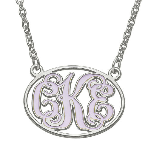 Personalized Sterling Silver Enamel Oval Monogram Pendant Necklace