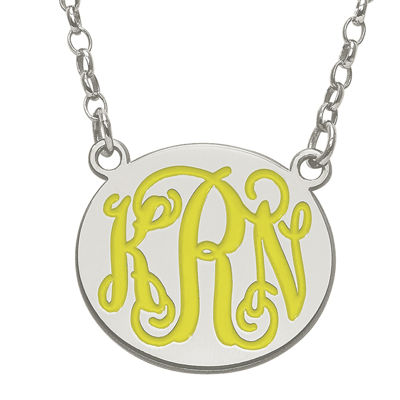 Personalized 19mm Sterling Silver Enamel Monogram Necklace