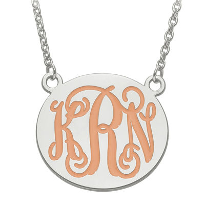 Personalized 26mm Sterling Silver Enamel Monogram Necklace
