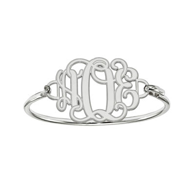 Sterling Silver Personalized Etched Monogram Bangle Bracelet