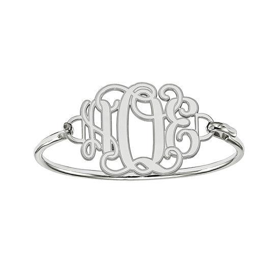Sterling Silver Personalized Etched Monogram Bangle Bracelet