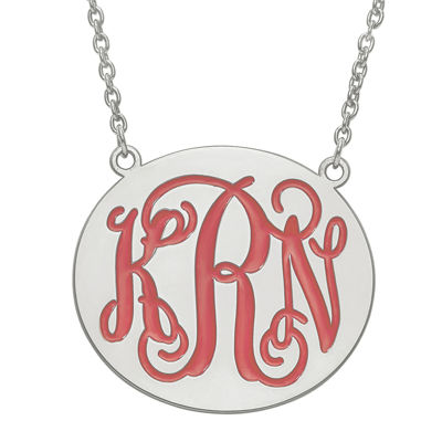 Personalized 32mm Sterling Silver Enamel Monogram Necklace