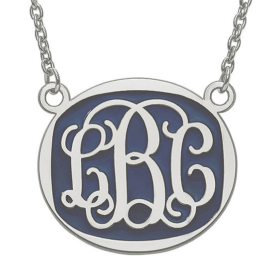 Personalized 26mm Sterling Silver Enamel Oval Monogram Necklace