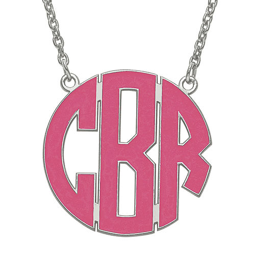 Personalized 26mm Sterling Silver Enamel Block Monogram Necklace