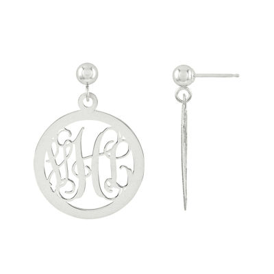 Personalized 22mm 14K White Gold Monogram Circle Earrings