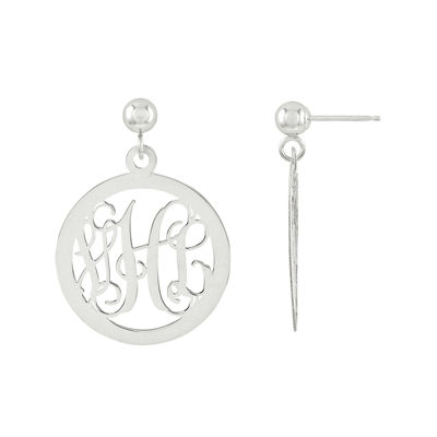 Sterling Silver Personalized Monogram Circle Earrings