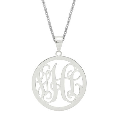 Personalized 43x32mm Circle Monogram Pendant Necklace
