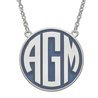 Personalized Sterling Silver 25mm Enamel Circle Monogram Necklace