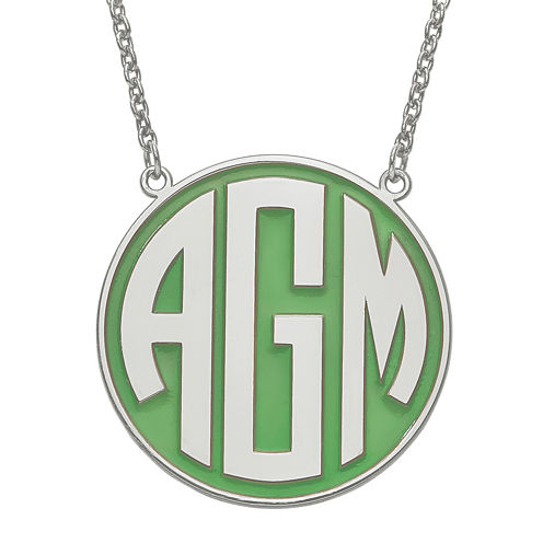 Personalized Sterling Silver 32mm Enamel Circle Monogram Necklace