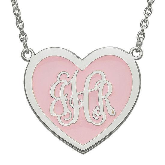 Personalized Sterling Silver 24mm Enamel Heart Monogram Necklace