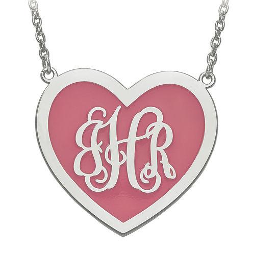 Personalized Sterling Silver 29mm Enamel Heart Monogram Necklace