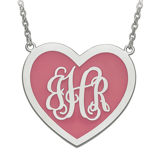 Personalized Sterling Silver 29mm Enamel Heart Monogram Necklace
