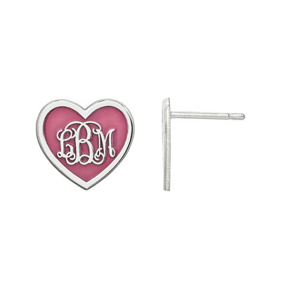 Personalized Sterling Silver 12mm Enamel Heart Monogram Earrings