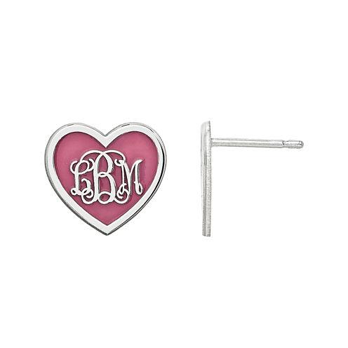Personalized Sterling Silver 12mm Enamel Heart Monogram Earrings