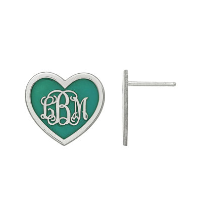 Personalized Sterling Silver 15mm Enamel Heart Monogram Earrings