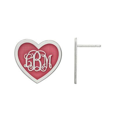 Personalized Sterling Silver 19mm Enamel Heart Monogram Earrings