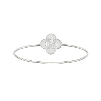 Personalized Sterling Silver 19mm Clover Monogram Bangle Bracelet