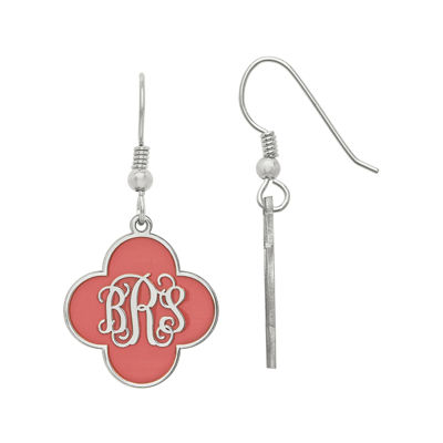 Personalized Sterling Silver 19mm Enamel Monogram Clover Drop Earrings