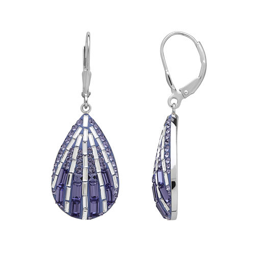 Purple and White Crystal Sterling Silver Drop Earrings
