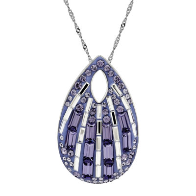 Purple and White Crystal Sterling Silver Teardrop Pendant Necklace