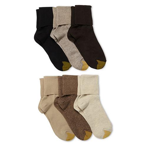 GoldToe® 6-pk. Turn-Cuff Crew Socks - Extended Sizes