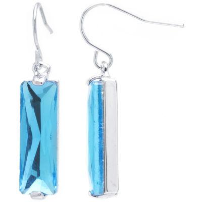 Sparkle Allure Blue Pure Silver Over Brass Rectangular Drop Earrings