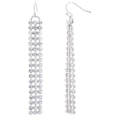 Sparkle Allure Sparkle Allure Clear Pure Silver Over Brass Round Drop Earrings