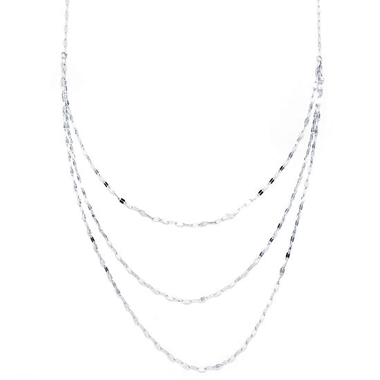 Silver Reflections Pure Silver Over Brass 25 Inch Solid Chain Necklace