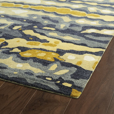 Kaleen Brushstrokes Tie-Dye Waves Hand-Tufted Wool Rectangular Rug
