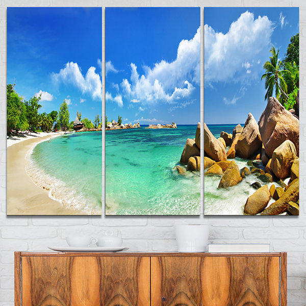 Design Art Seychelles Islands Panorama Landscape Photography Canvas Print - 3 Panels