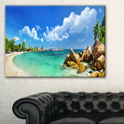 Designart Seychelles Islands Panorama Landscape Photography Canvas Print - 3 Panels