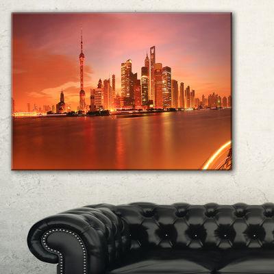 Designart Shanghai Lujiazui Skyline Cityscape Photography Canvas Print