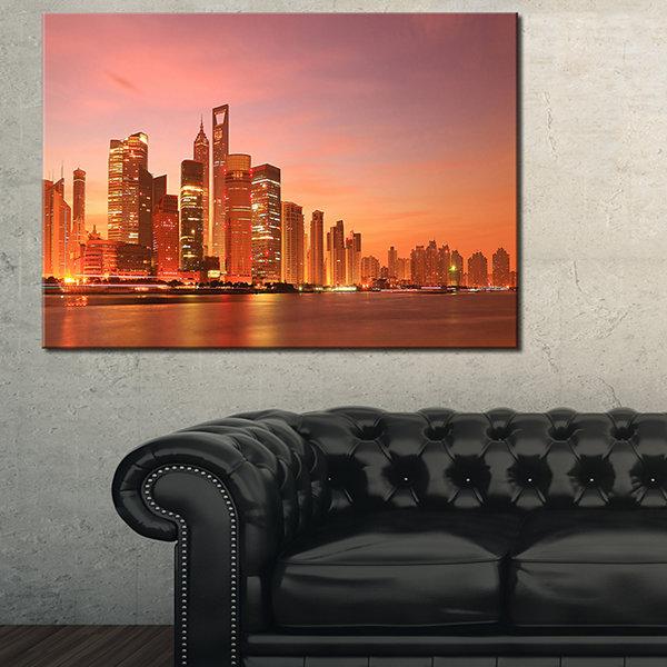 Designart Shanghai Skyline At Dawn Cityscape PhotoCanvas Art Print