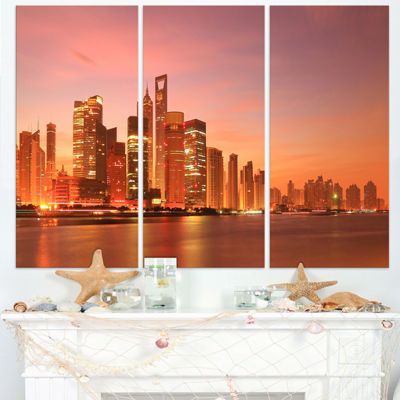 Designart Shanghai Skyline At Dawn Cityscape PhotoCanvas Art Print - 3 Panels