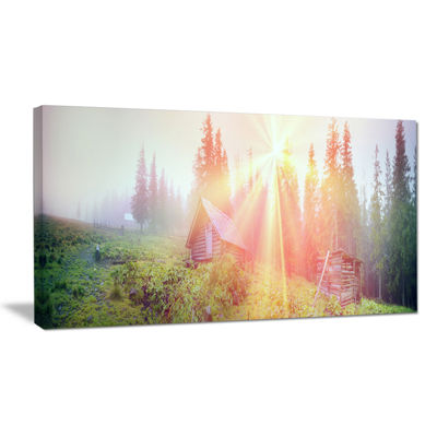 Designart Shepherds Huts In Autumn Forest Landscape Photography Canvas Print